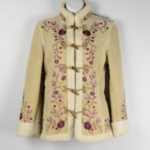 Leather Toggle Closure Embroidered Jacket